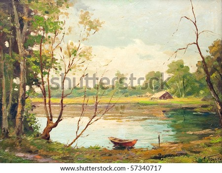 Oil painting showing beautiful forest landscape, with boat, lake and a little house. - stock photo