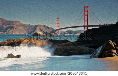 oil painting showing beautiful san francisco golden gate bridge - stock photo