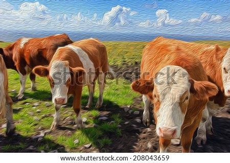 oil painting showing cows in a rural irish landscape - stock photo