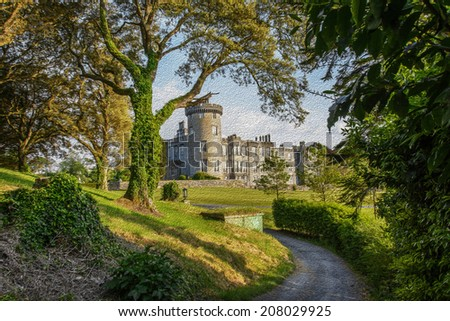 oil painting showing dromoland castle hotel - stock photo
