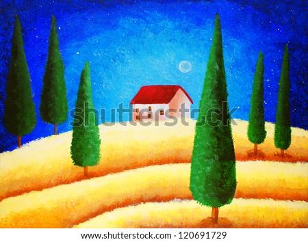 Oil Painting - Starry Night Sky - stock photo