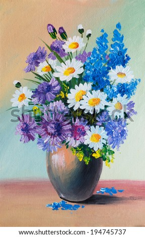 Oil Painting Still Life Bouquet Flowers Stock Illustration 194745737