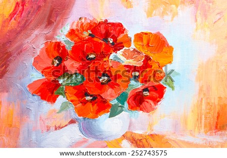 Oil painting still life, abstract watercolor bouquet of poppies  - stock photo