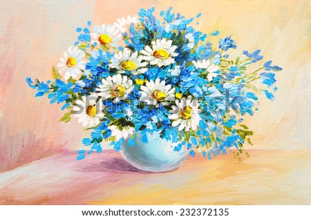 oil painting still life - bouquet of flowers on the table, chamomile - stock photo