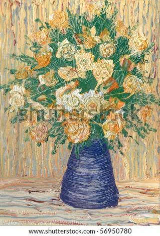 Oil painting. Still life with bouquet of biege roses in a blue vase - stock photo