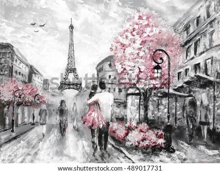 Oil painting street view of paris european city landscape