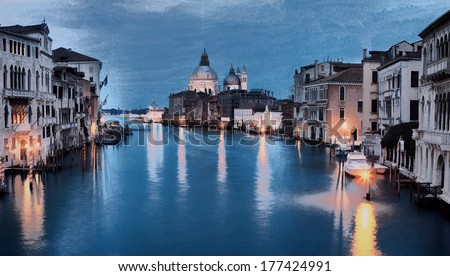 Oil painting style image of Grand canal, Venice, Italy - stock photo