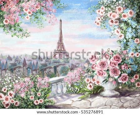 Oil Painting On Canvas Street View Stock Illustration