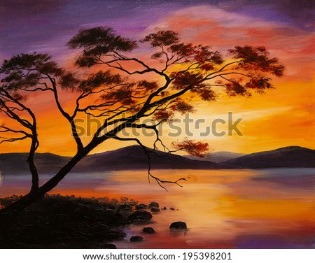 Oil Painting - sunset on the lake, abstract art - stock photo