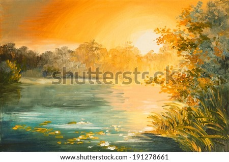 Oil Painting  - sunset on the lake, colorfull art drawing - stock photo