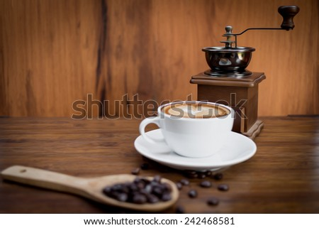 oil painting technique made on a computer, painting of a still life with coffee in oil technique made on a computer - stock photo