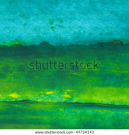 Oil painting texture. Green and blue. - stock photo