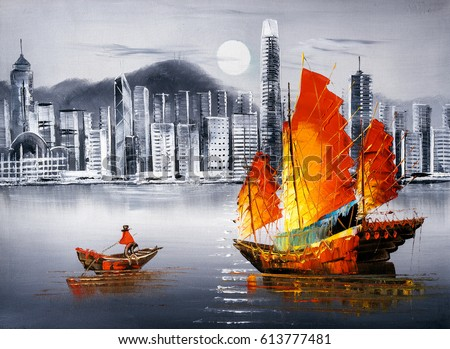 oil painting victoria harbor hong kong - Oil Painting