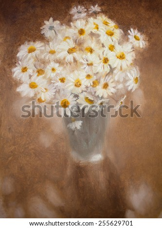 Oil painting with bouquet of white chamomiles - stock photo