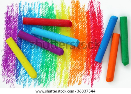 Oil Pastel Crayons on a white paper - stock photo
