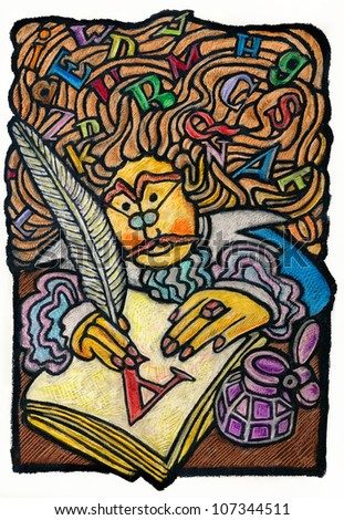 Oil Pastel illustration about an old writer with letters in his hair and writing with a quill a big A letter