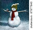 Oil Pastel Painting Of Snowman With Chickadee - stock photo
