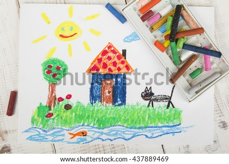 oil pastels drawing: country house - stock photo