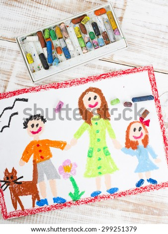 oil pastels drawing: single mother and kids - stock photo