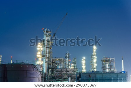 Oil petrochemical industrial plant at night of Thailand - stock photo