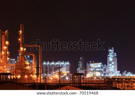 oil petrochemical refinery factory - stock photo