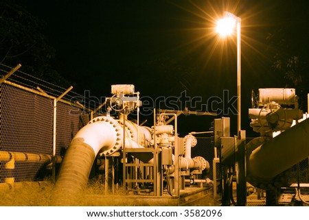 Oil pipeline at night