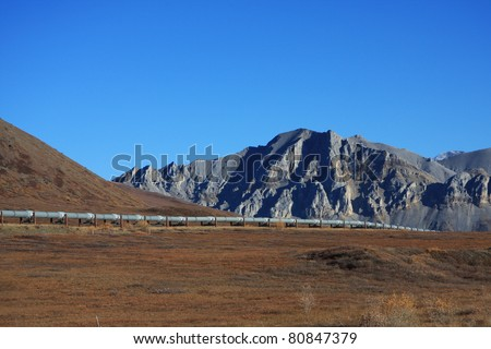 Oil Pipeline on the North Slope of Alaska - stock photo