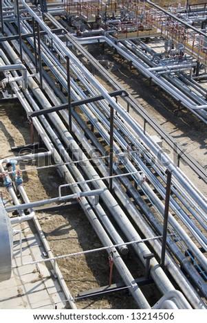 Oil pipeline. Refinery center in West Siberia - stock photo
