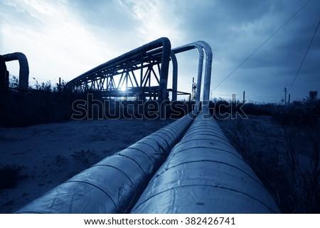 Oil pipeline, the oil industry equipment - stock photo