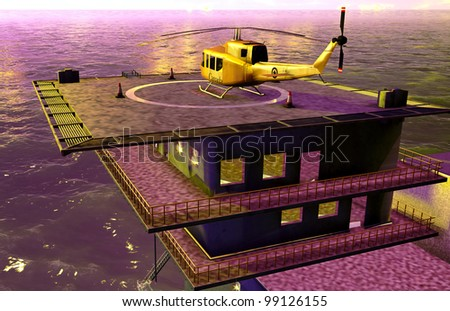 Oil platform - stock photo