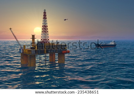 Oil platform and tanker in the sea, extraction of fuel resources