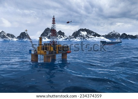 Oil platform in the Arctic Ocean, the oil production - stock photo