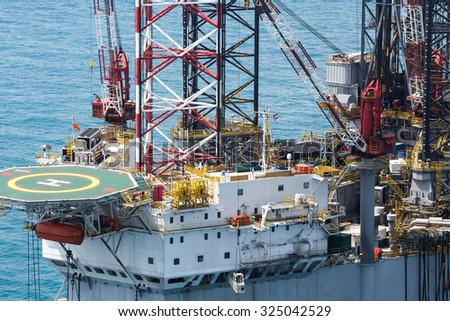 oil platform in the gulf of Thailand from aerial view - stock photo
