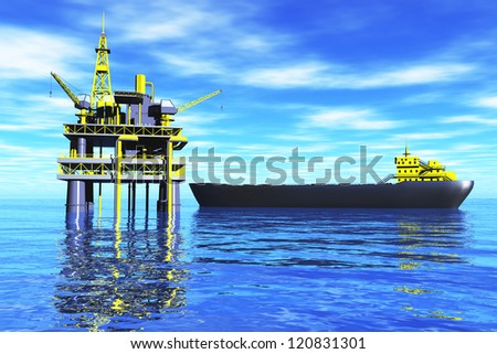 Oil Platform in the Sea and Tanker 3D render - stock photo