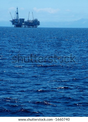 Oil Platform off California Coast - stock photo