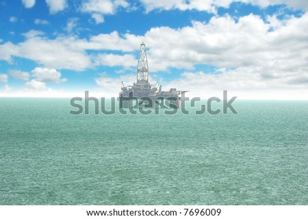 Oil platform offshore Baku on bright cloudy day - stock photo