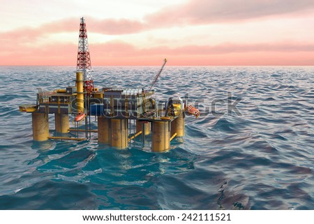 Oil platform on background of ocean, extraction of fuel resources