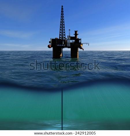 Oil platform on sea and blue sky - stock photo