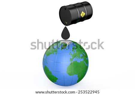 Oil pollutes the earth concept  isolated on white background - stock photo