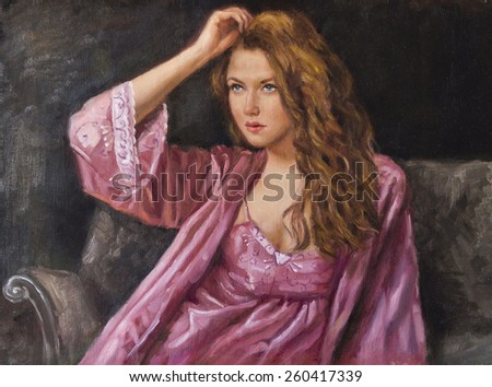 oil portrait of a woman relaxes - stock photo
