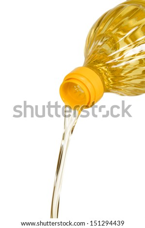 oil pouring from bottle. Isolated on white background  - stock photo