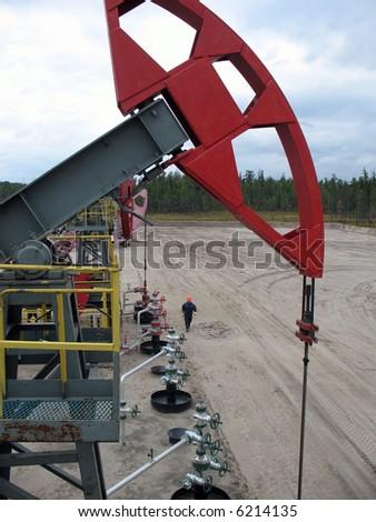 Oil power. Oil pump. Siberia. - stock photo