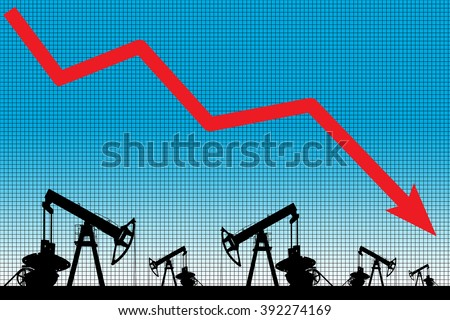 Oil price crisis. Oil price fall graph illustration. Red arrow. Pump field background.  - stock photo