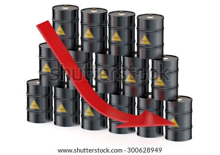Oil price falling isolated on white background - stock photo