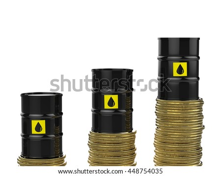 oil price rising concept with 3d rendering  crude oil barrels with gold coins - stock photo