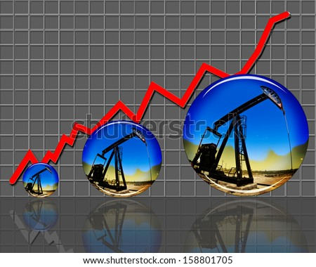 Oil prices and production going much higher. - stock photo