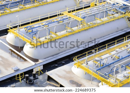 Oil product tanker barges - stock photo