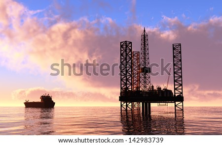 Oil production into the sea - stock photo