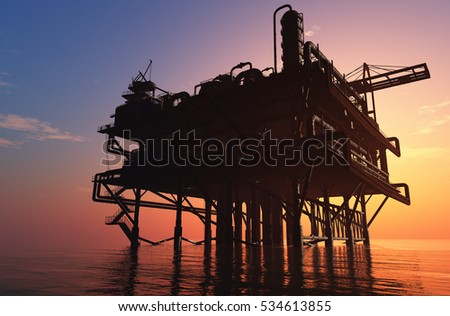 Oil production into the sea from above.3d render