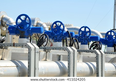 Oil Production Manifold - stock photo